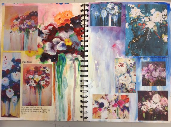 Art Sketchbook   artist study focusing on monochrome painting techniques  with ink drawings of butterflies   flowers    student sketch book   merge  text with     Student Art Guide