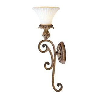 "Price: $138.50 Livex Lighting 8451 1 Light 100W Wallchiere Wall Sconce with Medium Bulb Base and Vintage Carved Scavo Glass from Savannah Series - 1 Light 100W Wallchiere Wall Sconce with Medium Bulb Base and Vintage Carved Scavo Glass from Savannah Series Product Features: Glass Type: Vintage Carved ScavoDimensions: 7""W x 23""H x 8""Ext.Product Weight: 8 lbs."
