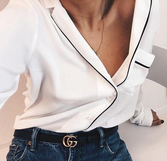 La chemise de pyjama, la nouvelle chemise blanche ! (instagram Hanna Mw):