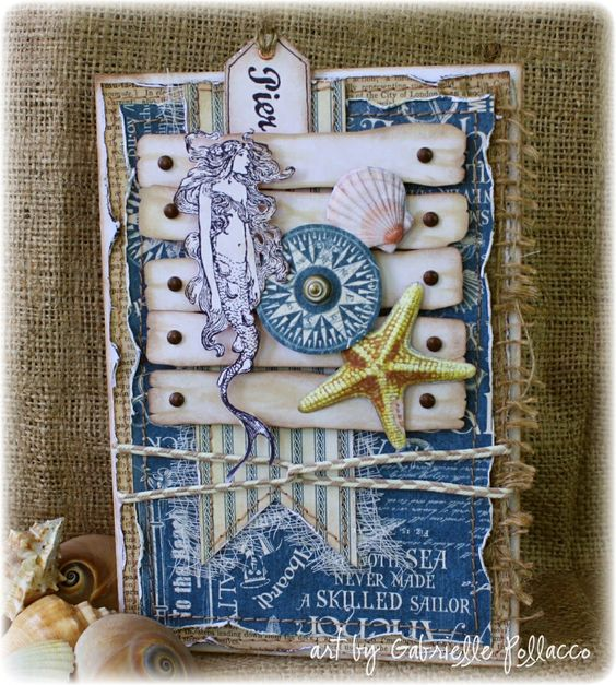 Nautical Card made by Gabrielle Pollacco using Graphic45 'By The Sea' collection papers and G45 Staples/brads.