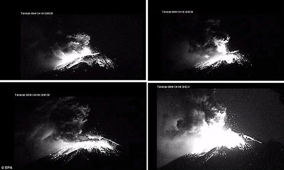 Mexico's Popocatépetl volcano spews ash two MILES into the air: Puebla is caked in white dust as eruption forces closure of airport