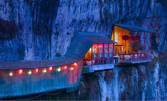 Cliff restaurant near Sanyou cave