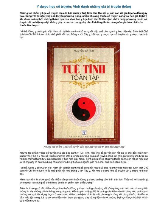 Y dược học cổ truyền: Vinh danh những giá trị truyền thống by Dược Phẩm Tâm Bình