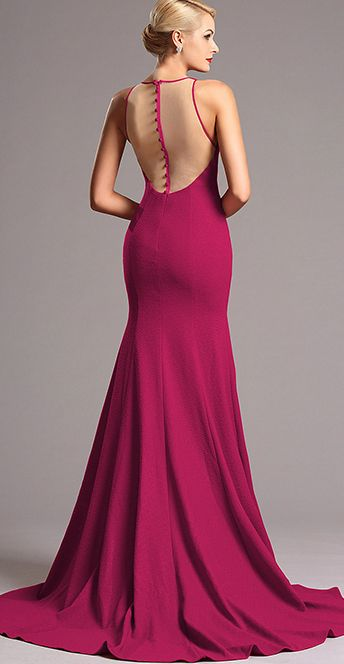 Classic, elegant and beautiful! Be red carpet ready in this gorgeous formal long dress. It features flattering mermaid silhouette together with a trumpet skirt, sexy sheer back decorated with stylish buttons. #Fashion #Style #Prom #Evening #Dress