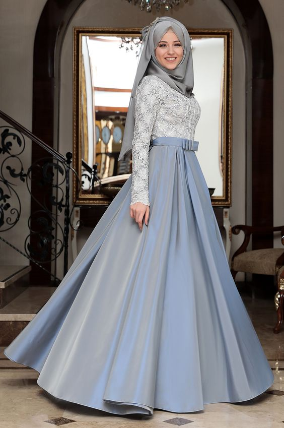 Belt Blue frock with grey fancy hijab look for party