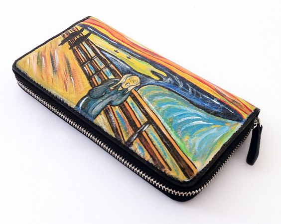 "Portafogli dipinto a mano -hand painted wallet -""The Scream"" by Munch - ""L'Urlo"" di Munch- www.artelisanti.com  #ArteLisanti #MadeinItaly #GenuineLeather #VeraPelle #wallets #portafogli #handpaintedwallets #portafoglidipintiamano #fashion #style #stylish #beautiful #pretty #girl #girls #design #model #shopping #glam #ThePaintingToWear #Munch #TheScream"