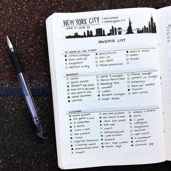 Checklist valise Bullet Journal