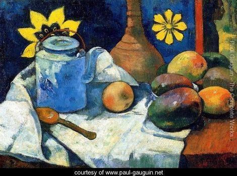 Still Life With Teapot And Fruit 1881 by: Paul Gauguin (7 June 1848 – 8 May 1903) Orientation: Landscape private collection