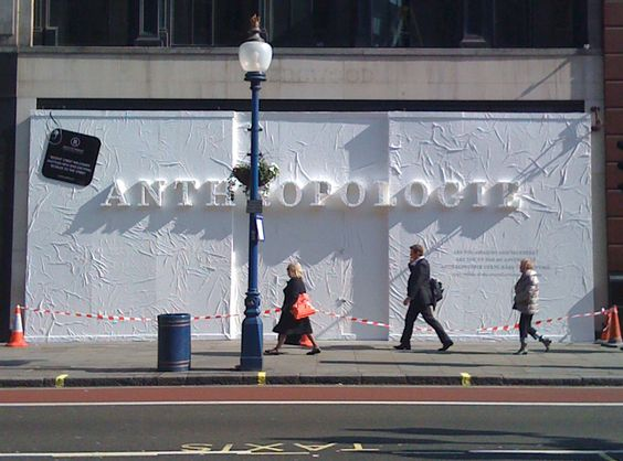London Store Barricade by Lizania Cruz - Barricade design for Anthropologie's new store in London. The logotype was raised from the surface of the barricade and covered with tyveck material to create a textured 3-d effect.: