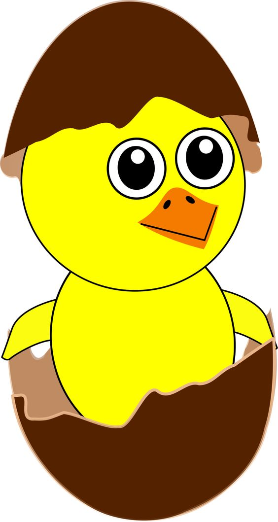 "Funny Chick Cartoon Newborn by @palomaironique, Funny Chick Cartoon Newborn Coming Out from the Egg with a Chocolate Eggshell hat - Drôle de poussin nouveau né dans son oeuf avec chapeau en coquille d'oeuf en chocolat - Lustige neugeborenen Küken in seinem Ei mit Schokolade Eierschale Hut - Pulcino divertente neonato nel suo uovo e con un cappello in guscio d'uovo di cioccolata (partially remixed from ""Martouf"" and ""rg1024"" illustrations), on @openclipart"