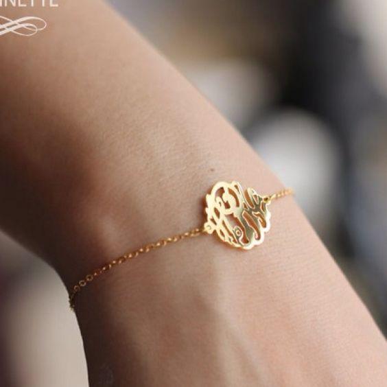 Monogram bracelet with new initials to wear on wedding day