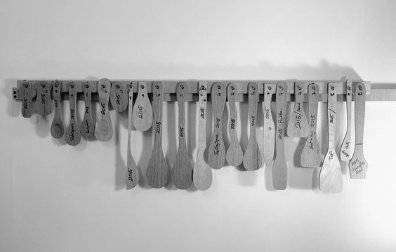 Wooden spoon blank templates hanging out in the studio