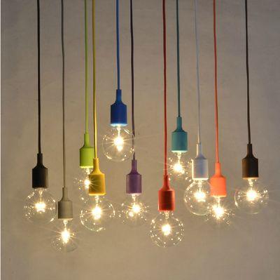 10 stück kunst hängeleuchte e27 bunten silikon kronleuchter diy litze kronleuchter kit silikonkautschuk licht wohnkultur(China (Mainland))