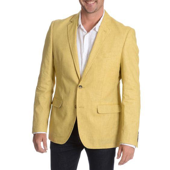 Daniel Hechter Men's Lemon Garment Wash Linen Sport Coat   Coats