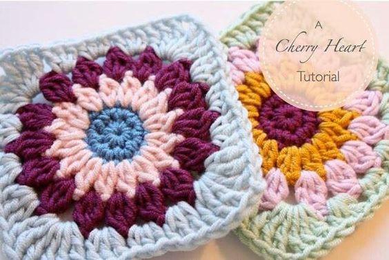 cherry heart crochet granny square | Granny circle to square - Cherry heart tutorial