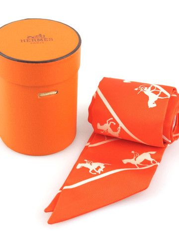 Hermes Twilly Orange Duc Carriage Horse Silk Scarf with Original Box   Socialite Auctions