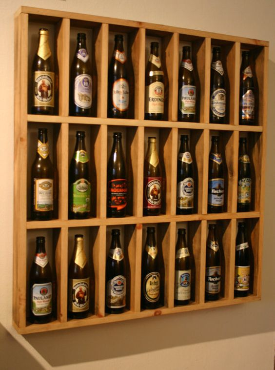 To make myself pint beer bottle display by scharchworks for Glass bottle display ideas