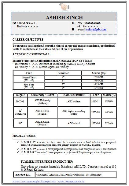 Mba Information Technology It Resume Format Resume Format