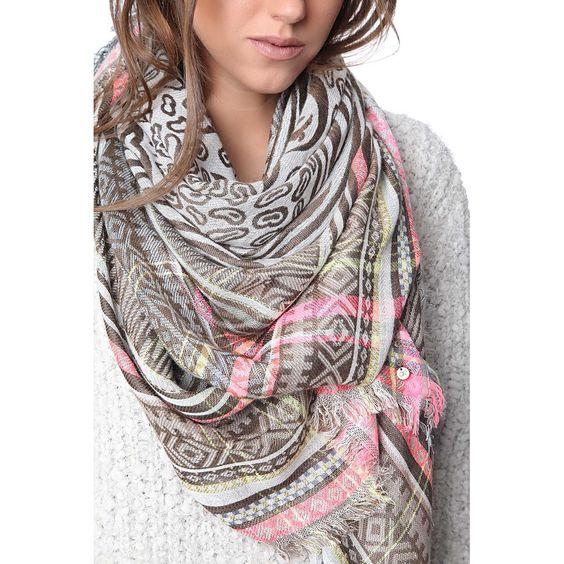 Beige geo printed scarf