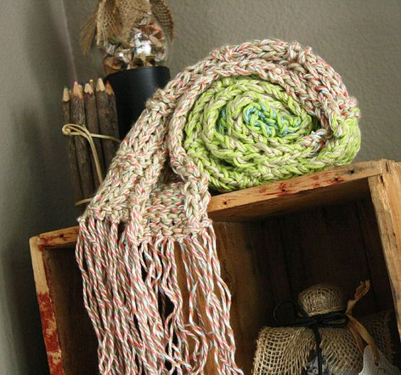 Ombre multi-pastel color skinny scarf with fringe, great christmas gift, very soft hand