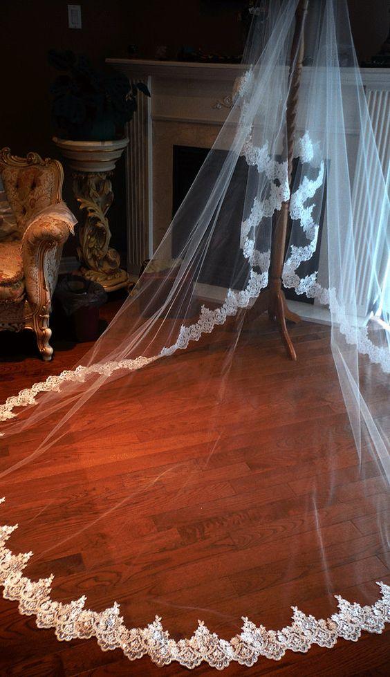 Lace drop veil cathedral mantilla one tier drop by hollyxholly
