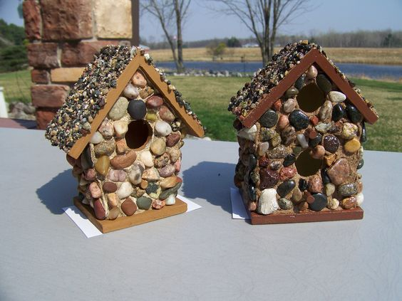 bird houses covered with pebbles collected on the shores of Lake Superior