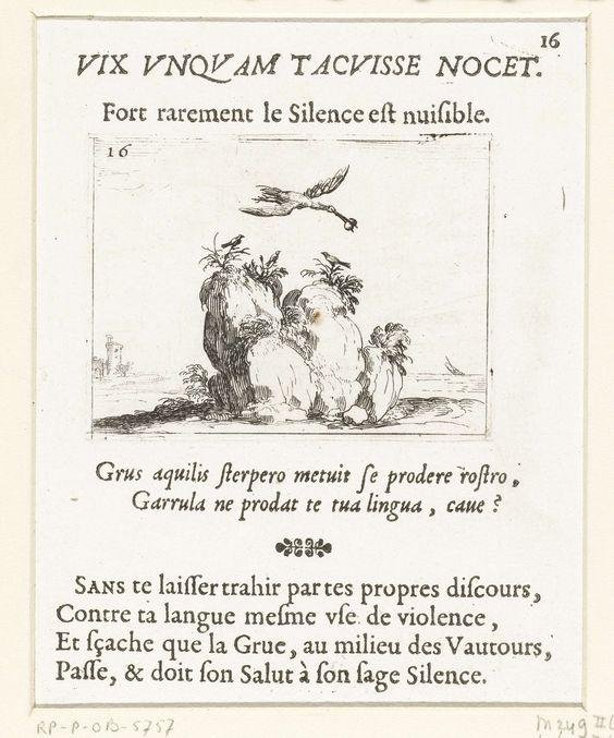 Jacques Callot | Kraanvogel met een steen in de snavel, Jacques Callot, 1621 - 1635 | Voorstelling van een kraanvogel met een steen in de snavel, die over een rots vliegt waarop drie kleine vogels zitten. Boven en onder deze prent Latijnse en Franse teksten in boekdruk. Dit blad is onderdeel van de embleemserie 'Kloosterleven in emblemen'. De tweede staat van deze serie behelst naast een geïllustreerde titelpagina en 26 emblemen nog een titelpagina en een blad met opdracht, beide in boekdruk…