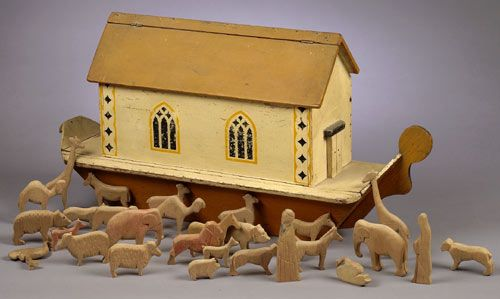 Hand Painted Wooden Noah's Ark Toy