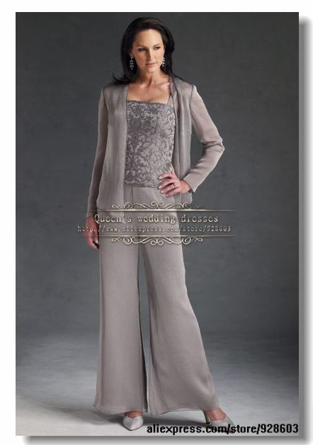 Gray three piece Chiffon mother of the bride pant suits with lace