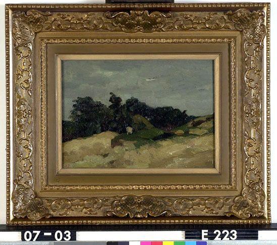 Duinlandschap met een geit - W.H.P.J. de Zwart - 1885-1931  Maat: 47cm x 56,5cm  Materiaal: olieverf op paneel  Inventarisnummer: E223