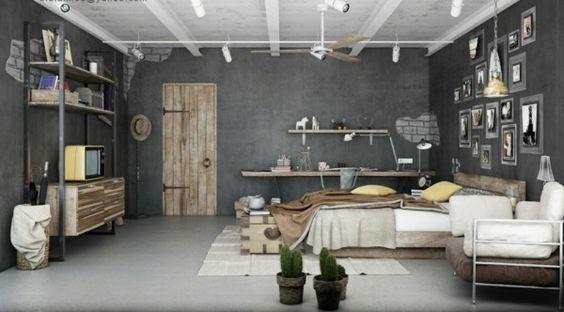 urbanen dachboden einrichtungsstil rustikale möbel holz ...