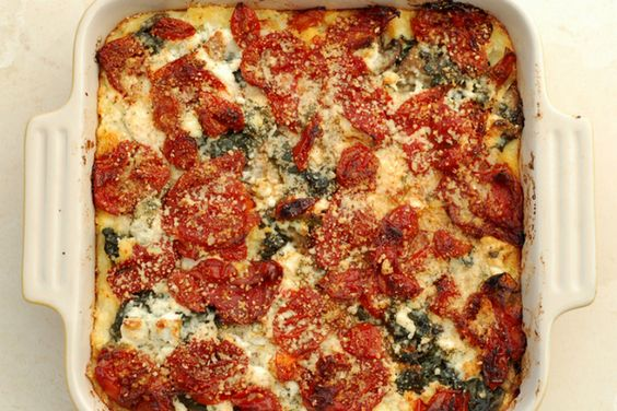 A vegetarian meal: Baked Polenta with Oven-Roasted Tomatoes and Cheese –  Serves 4-6.