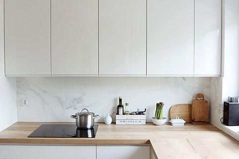 Projekt Wnetrza Szczecin Biala Kuchnia Marmurowe Plytki Simple Kitchen Kitchen Cabinets Kitchen