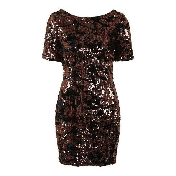 TOPSHOP BRONZE SEQUIN BODYCON PARTY FASHION DRESS (2.040 RUB) ❤ liked on Polyvore featuring dresses, sequin cocktail dresses, cocktail party dress, brown sequin dress, brown party dress and bodycon dress