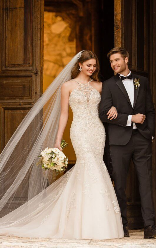 Sparkling Silver Beaded Wedding Dress with Cross Back