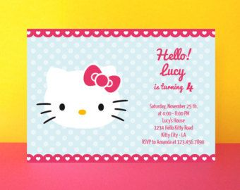Hello Kitty invitation card  - Editable text Pdf - Diy Printable - INSTANT  DOWNLOAD - Digital file - Hello Kitty birthday party M02