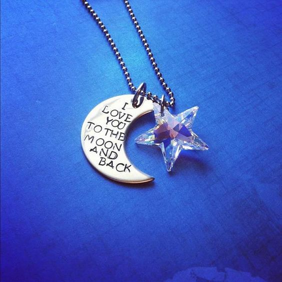 Love You To The Moon And Back - Personalized Necklace. $27.00, via Etsy.