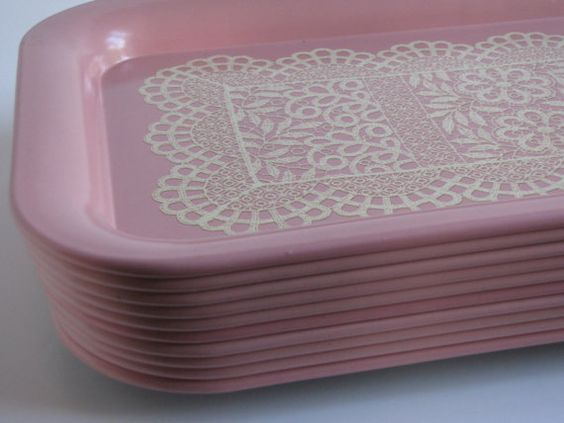 RESERVED Vintage Pastel Pink Metal Serving by HeartlandVintageShop