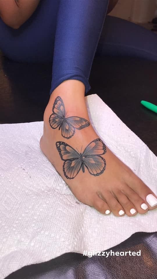 Butterfly Tattoo In 2020 Butterfly Leg Tattoos Butterfly Ankle Tattoos Stylist Tattoos