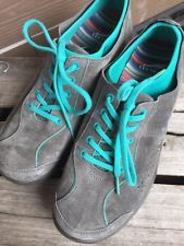 WOMENS DANSKO Sedona GRAY Teal  LEATHER TENNIS SHOES SZ 41 Mint