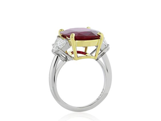10.24 Carat Ruby Diamond Platinum Ring 3