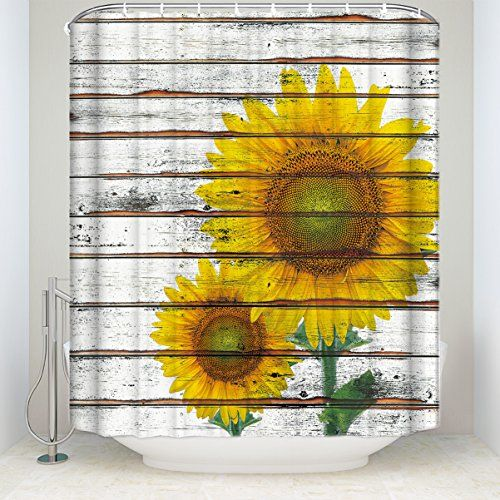 Rustic Sunflower Shower Curtains Fabric Shower Curtains Sunflower Bathroom Designer Shower Curtains