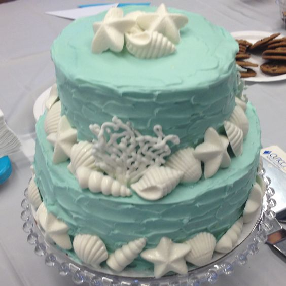 Nautical theme - seashell cake for bridal shower.
