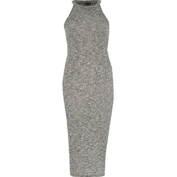 River Island Grey marl ribbed bodycon midi dress (215 ARS) ❤ liked on Polyvore