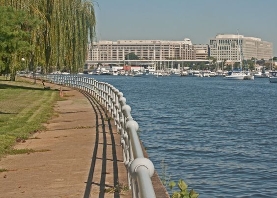 East Potomac (Park Sidewalk) .East Potomac Park is situated in southwest DC between the Potomac River and Washington Channel. The park houses a large number of cherry blossom trees and is especially pretty in April.  via activelifedc.com cc  Aaron Sorkin The west wing