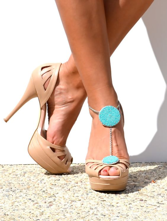SUMMER teal bead embroidered anklet heel.