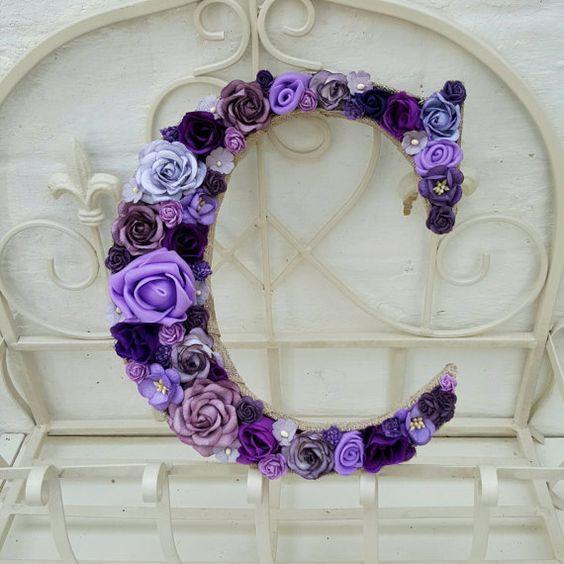 Flower Letter Floral Letter Purple Flowers by DianaEvansArtist