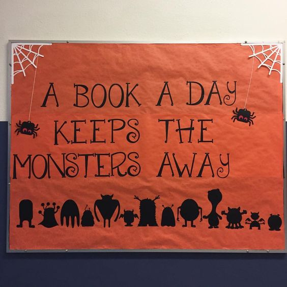 """Mrs. Erickson the Librarian (@librarylady) on Instagram: """"It's October, how is that even possible? New month means new bulletin board! October is all about…"""""""