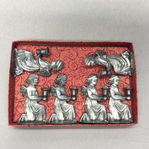 Six Vintage Pewter Kneeling Angel Candle Holders Made in Western Germany w Box
