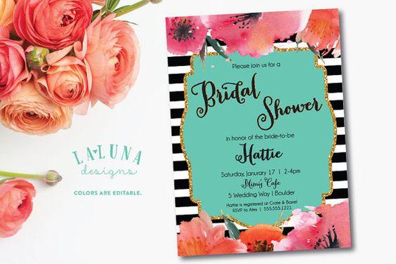 Bridal Shower Invitation Floral Black & White by LaLunaDesigns